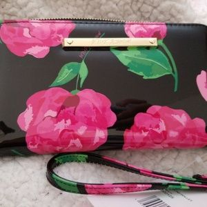 Betsey Johnson Patent Black Pink Rose Wallet NEW